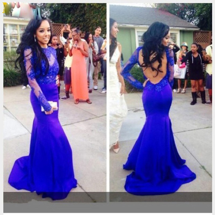 Fashion Elegant O Neck Mermaid Royal Blue Prom Gown Long Sleeves Appliqued Open Back Robe De Soiree Mother Of The Bride Dress