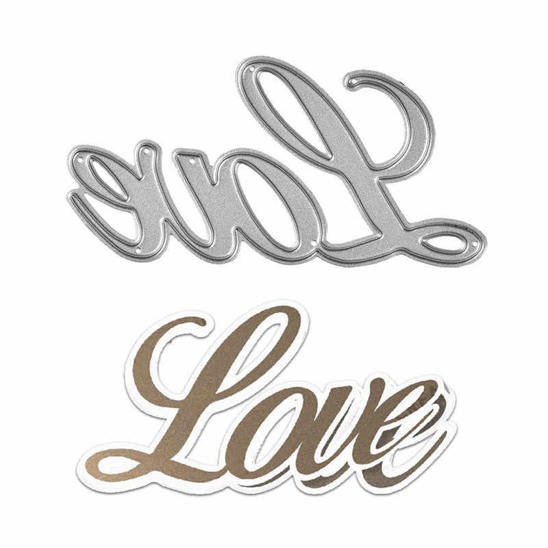 InLoveArts, troqueles de corte de Metal con letras Love para hacer tarjetas, troqueles de Scrapbooking, troqueles de grabado en relieve, plantilla de arte, nuevos troqueles de palabra 2019