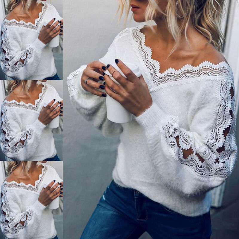 Pullover Tops Knit Sweater White Jumper Lace Long-Sleeve Sexy Autumn Elegant V-Neck Winter title=