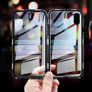 Image 4 - כפול צדדי זכוכית מגנט מקרה עבור iphone 7 8 בתוספת XS Max Xr X מתכת מגנטי 360 תואר מלא כיסוי מקרה עבור iphone 6 Coque