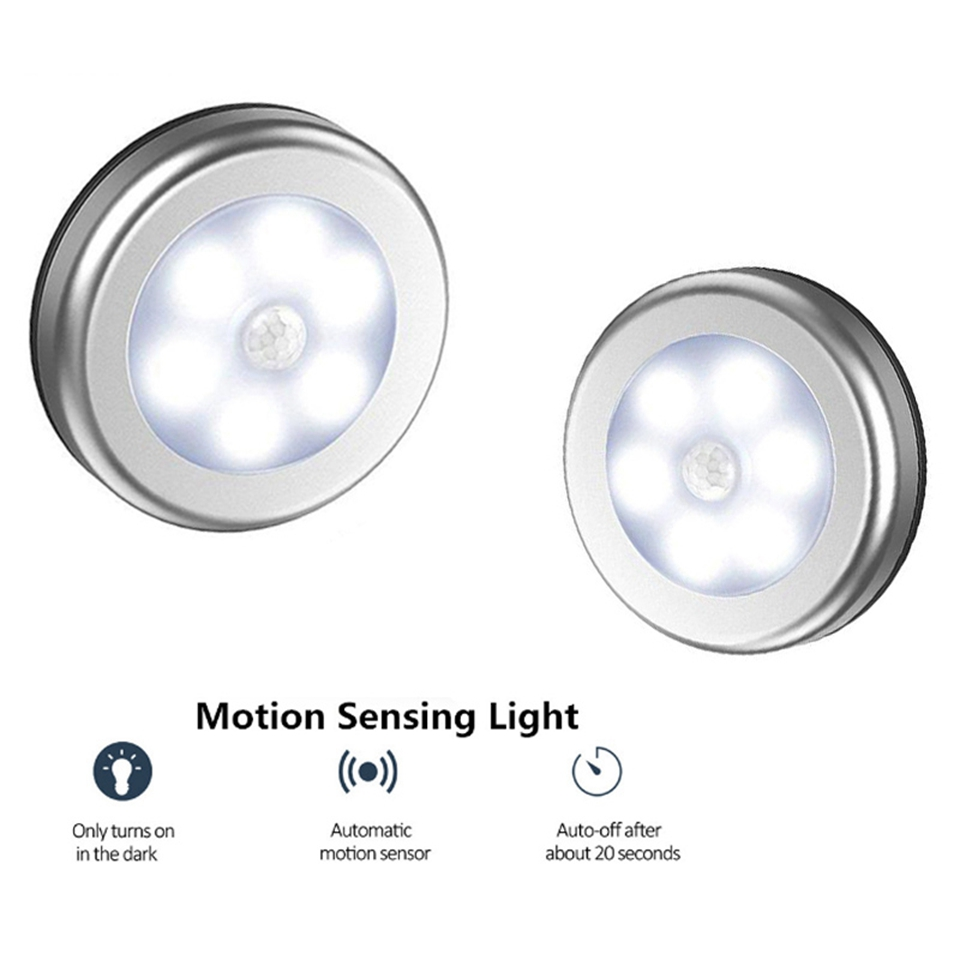 PIR Motion Sensor 6 LED Under Cabinet Light Kitchen Bedroom Wireless Magnetic Closet Light Sensor Stair Light Night Lamp