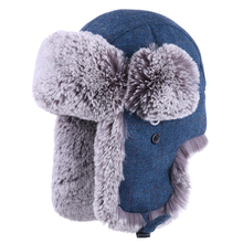 Men Bomber Hat Thicken Plush Winter Trapper Hat