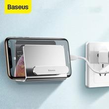 Baseus Wand Telefon Halter Einstellbare Smartphone Halter Mit Klebstoff Hause Handy Halter Für iPhone 12 11 Pro XS Huawei sony