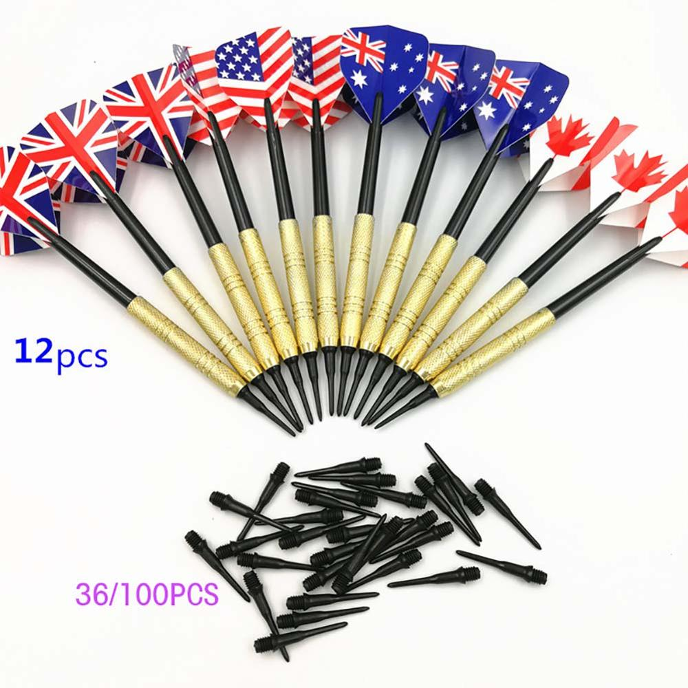 12pcs Professional 14 Grams Soft Tip Darts Set With Extra Plastic Tips Electronic Dartboard For Indoor Darts Games 36/100PCS