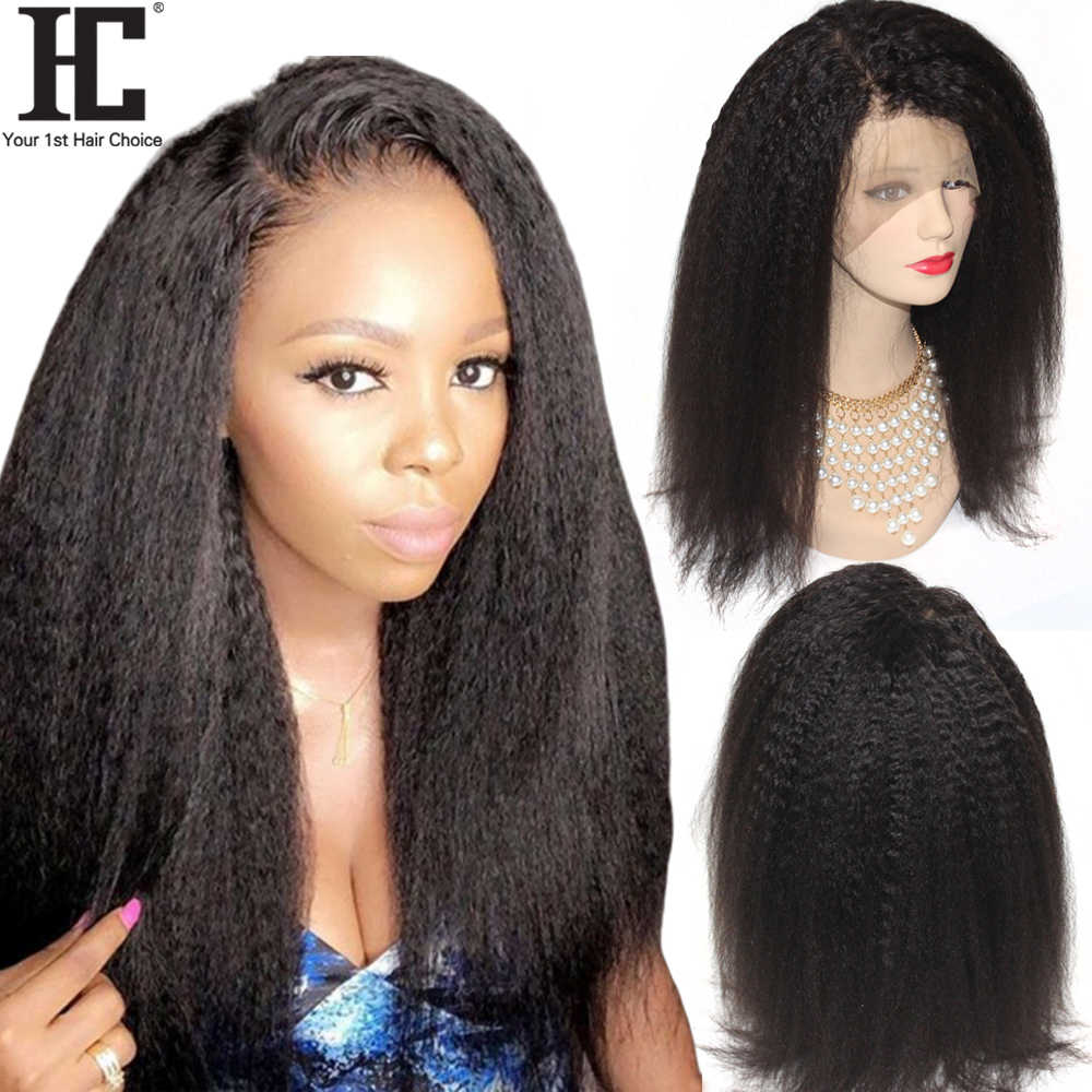 Kinky Straight 360 Lace Frontal Human Hair Wigs 180% Brazilian Remy Italian Yaki Lace Frontal Wigs Pre Plucked Bleached Knots HC