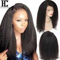 Kinky Straight 360 Lace Frontal Human Hair Wigs 180% Brazilian Remy Italian Yaki Lace Frontal Wigs Pre Plucked Bleached Knots HC
