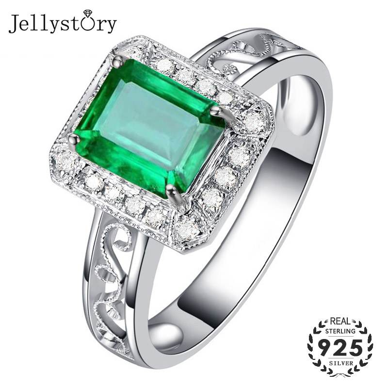 Jellystory Classic 925 Silver Jewelry Rings with Rectangle Shape Emeral Zircon Gemstone Open Ring for Women Party Gift wholesale