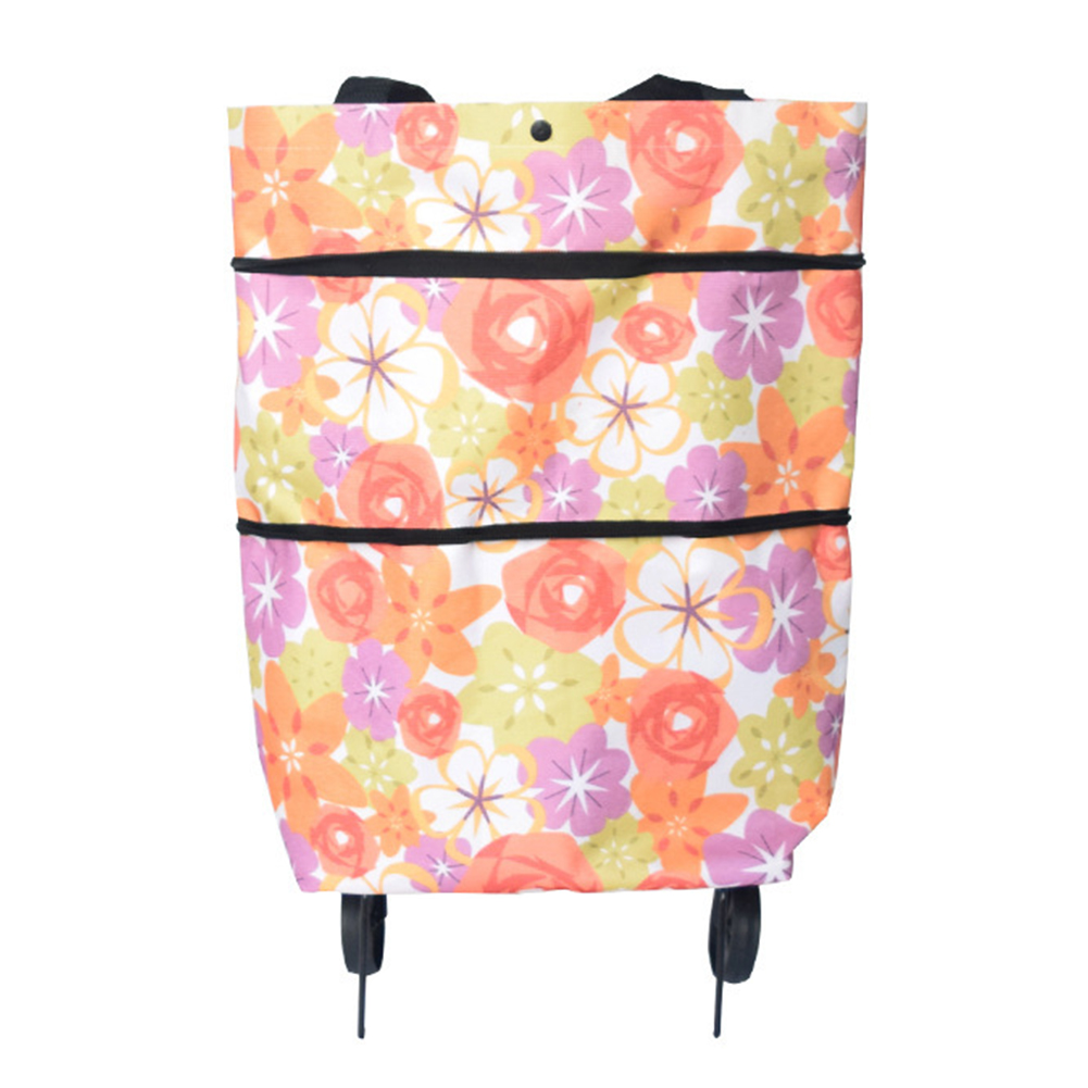 On <font><b>Wheels</b></font> Home Cart <font><b>Folding</b></font> Groceries Reusable Fashion Lightweight Portable <font><b>Shopping</b></font> <font><b>Bag</b></font> Oxford Cloth Large Capacity image