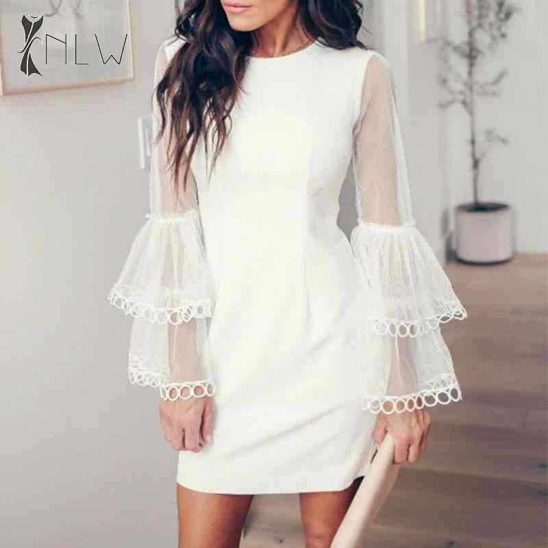 NLW Mesh à manches longues robe de soirée femmes 2019 blanc dentelle hiver robe élégante OL solide grande taille courte robe Vestidos