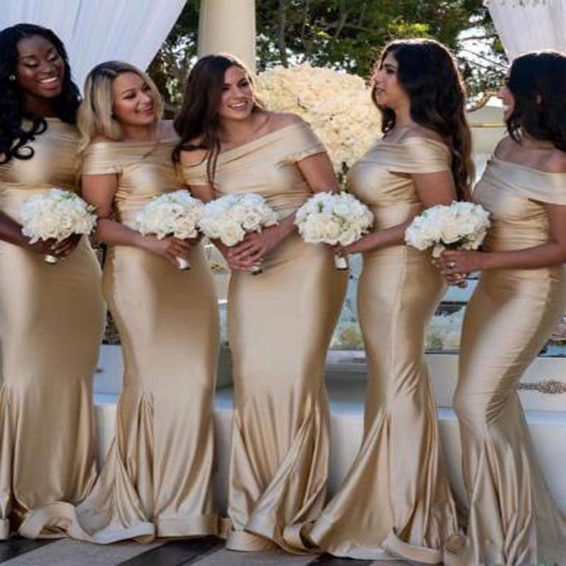 Champagne Mermaid   Bridesmaid     Dresses   2019 Cheap Simple Off Shoulder Floor Length Wedding Guest   Dress   Formal   Dress   Vestido longo
