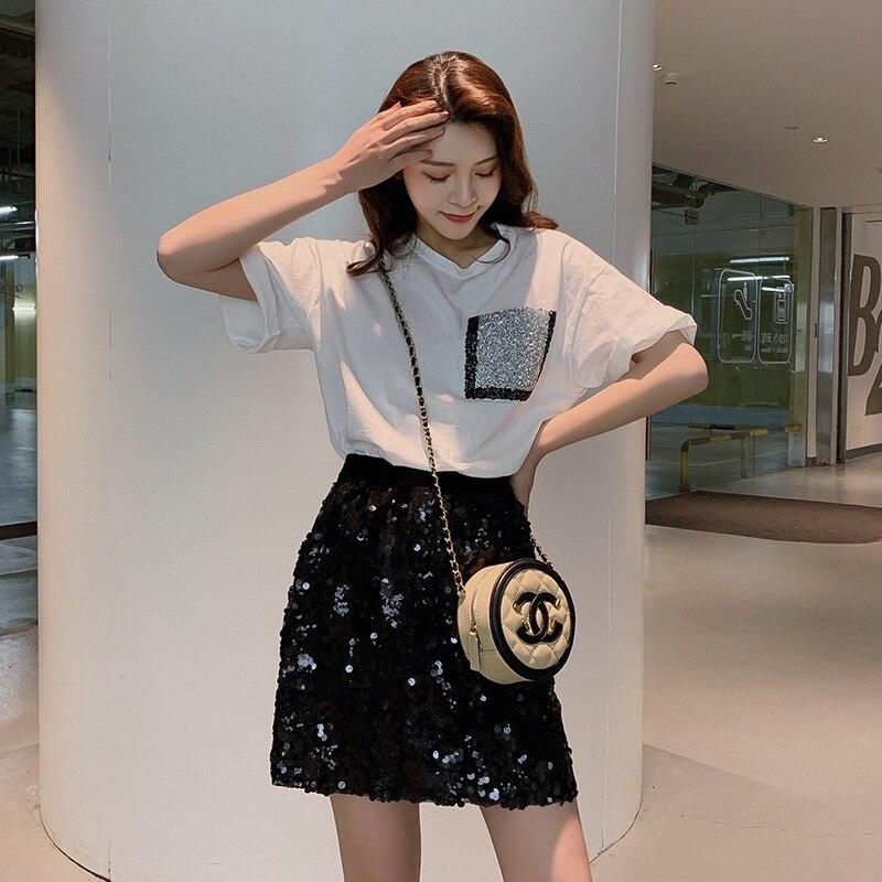 2019 New Style Summer Fashion Set Hot Drilling Pocket T-shirt Women's Sequin Skirt Short Skirt Two-Piece Set F5985