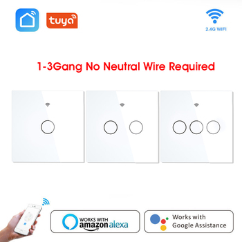 Wifi Smart Light Switch Glass Screen Touch Panel Tuya App Control Wireless Wall Switch Work With Alexa Google Home 1/2/3-Gang