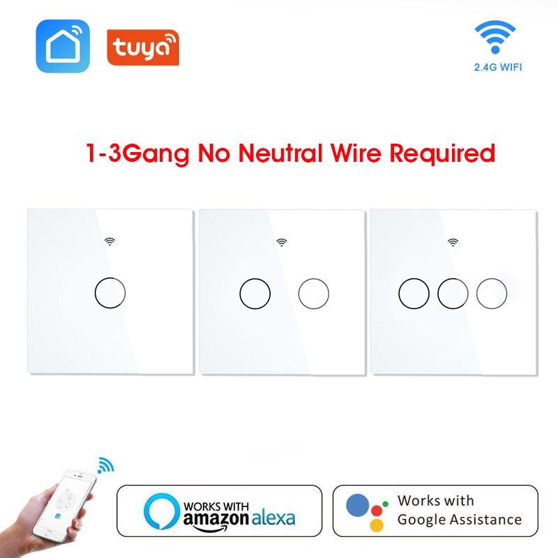 Interruptor de Luz Tela de Vidro Painel de Toque Interruptor de Parede sem Fio Trabalho com Alexa Wi-fi Inteligente Tuya Controle Google Casa 1 – 2 3-gang App