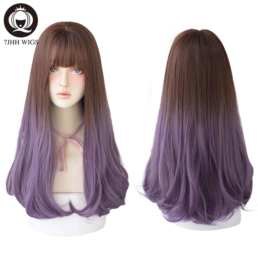 7JHH WIGS Long Hair With Bangs For Women Layered Black Purple Wig Heat Resistant Fashion Natural Wig Wholesale