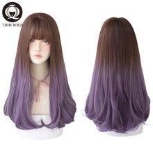 Perruque naturelle résistante à la chaleur, 7JHH, cheveux longs, avec frange, pour femme, en couches noir/violet, mode, vente en gros