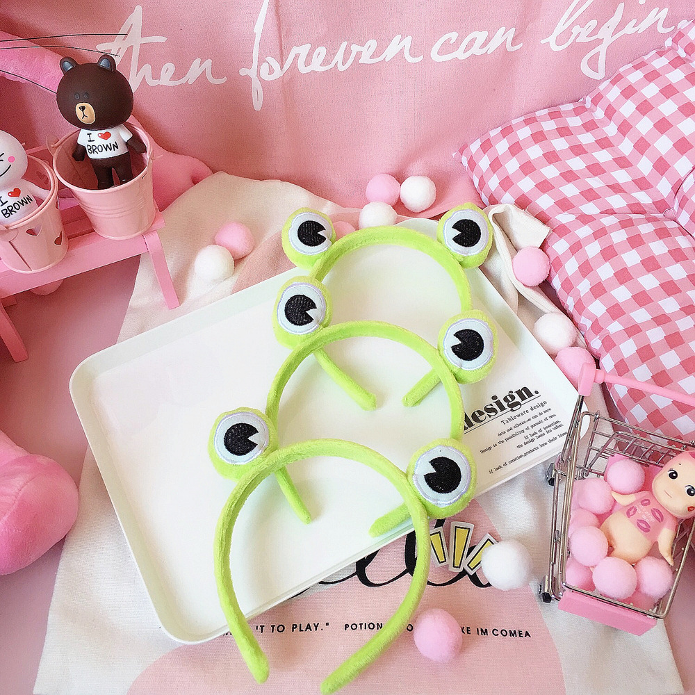 Plush Funny Frog Headband Elastic Wide-Brimmed Animal Hair Band Female Hair Accessoriers