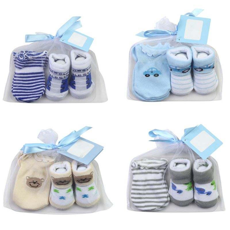 Baby Cotton Socks + Anti-Scratch Gloves Set For Baby Boys Infant 0-6 Months Newborn Gift Baby Accessories