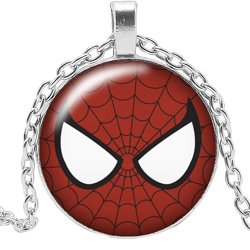 2019 New Movie Surrounding Spiderman Mask Necklace Jewelry Pendant Crystal Convex Round Glass Childrens Gift