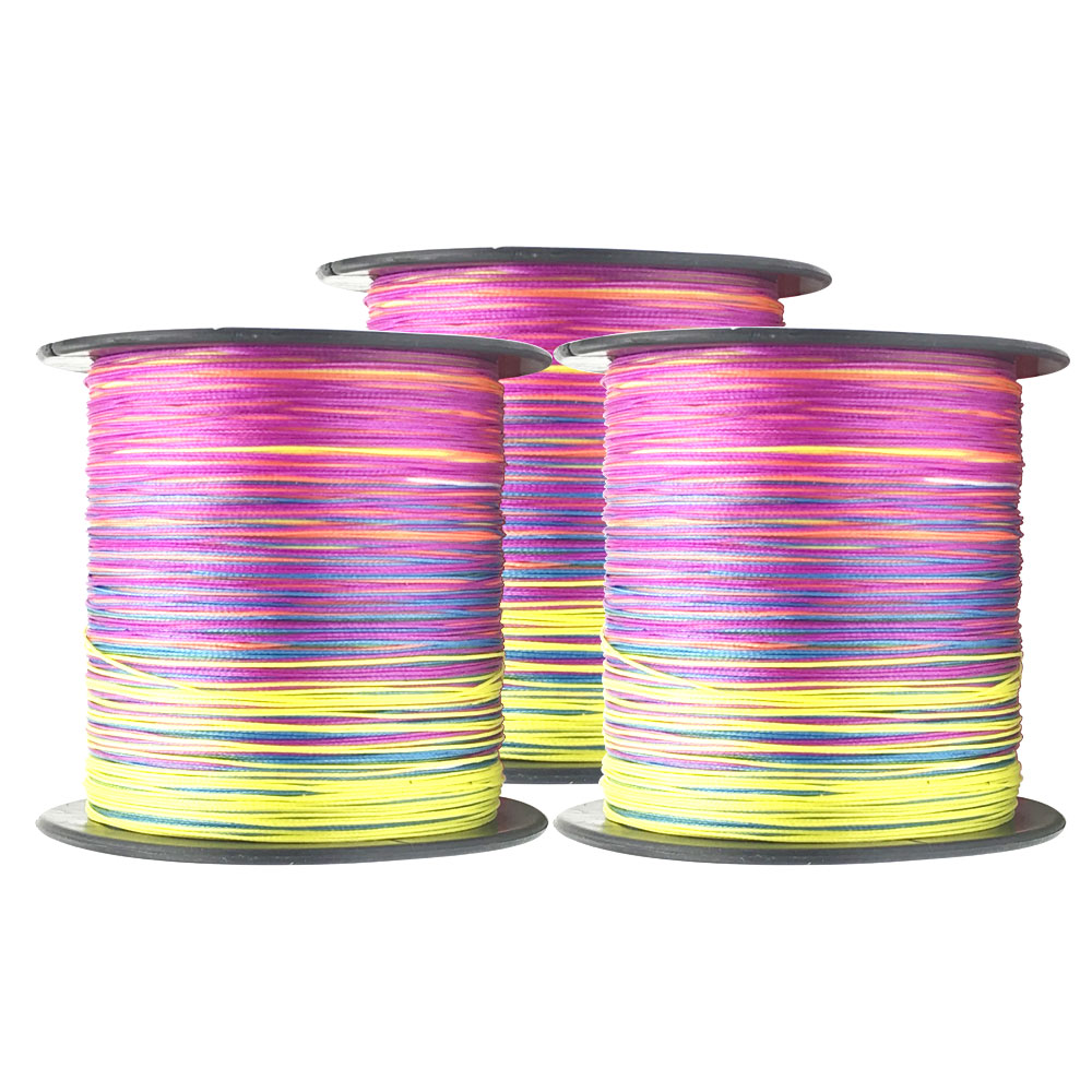 Multicolor 4 Strands 100M 300M 500M 1000M PE Braid Fishing Line Sea Saltwater Fishing Weave 100% Super Power Fishing Tackle image