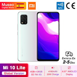 Глобальная версия Xiaomi Mi 10 Lite 5G смартфон 6 ГБ 128 ГБ Snapdragon 76 5G NFC 6,57 дюймAMOLED дисплей 48MP камера 20 Вт 4160 мАч
