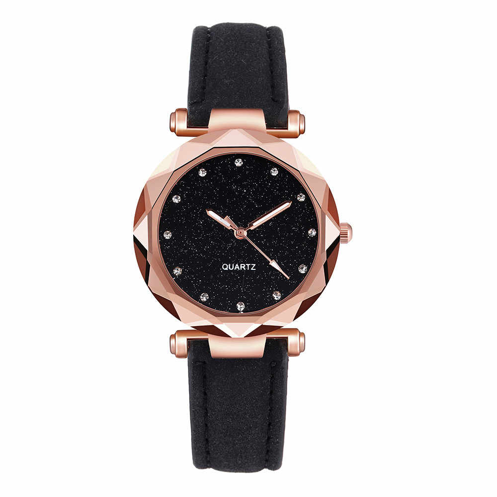 40 ^ casual feminino romântico céu estrelado relógio de pulso couro strass designer senhoras relógio simples vestido montre femme