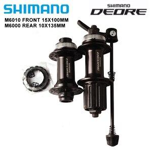 Shimano deore m6010 m6000 hub 32 furos para 7/8/9/10/11 velocidade mtb bicicleta frente cubo traseiro liberação rápida 32 h bloqueio central