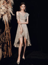 2020 Новое модное элегантное вечернее платье короткое спереди