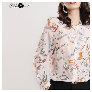 Silviye cor sólida estilo vintage gola de seda camisa feminina amoreira seda wear toda parte superior primavera novo