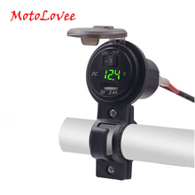 MotoLovee 2.1A/1A Dual USB Car Charger LED Display Universal Phone Cigarette Lighter Socket Adapter Digital Voltmeter Switch