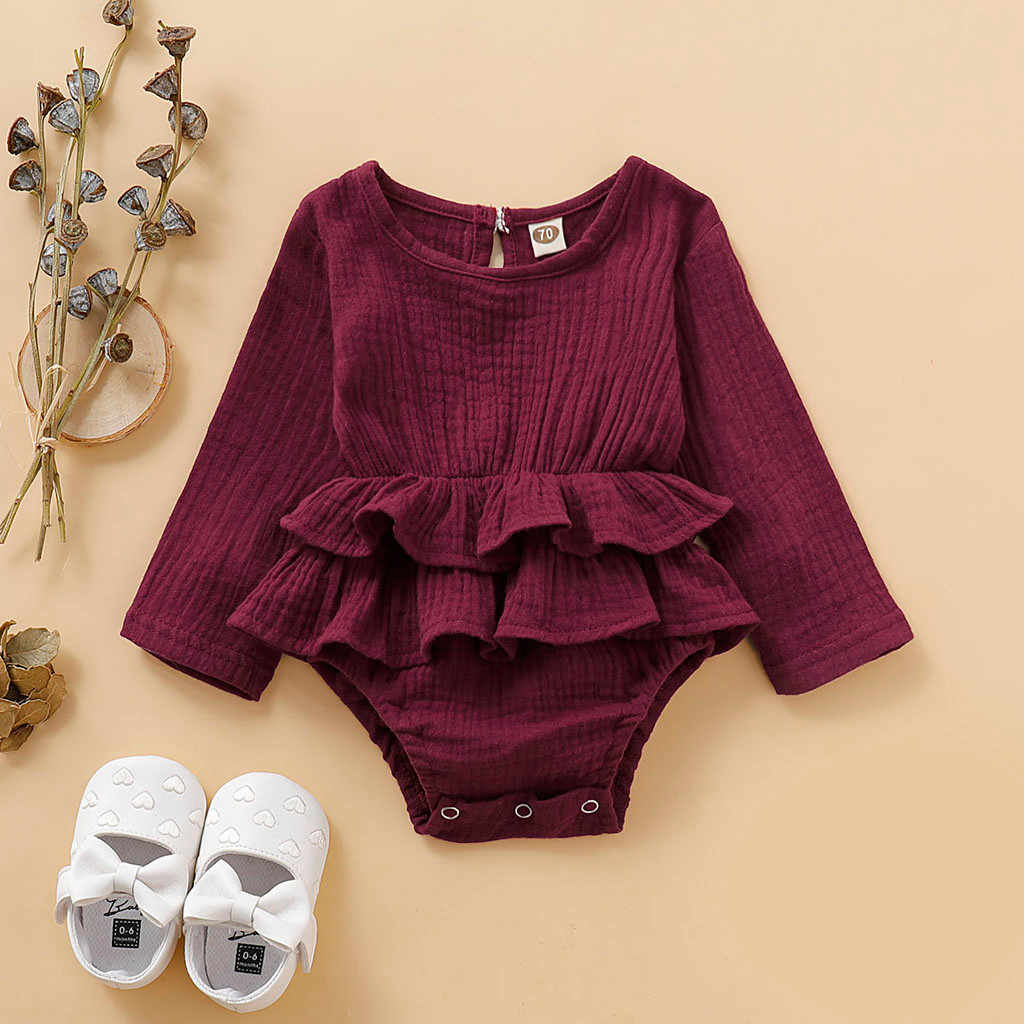 baby bodysuit long sleeve baby body neonato clothes baby girl onesie funny bodies bebe algodo Long Sleeve Solid Ruffles 6-18m Z4
