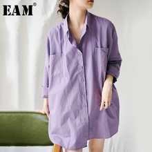 [EAM] Women Purple Big Pocket Big Size Blouse New Lapel Three-quarter Sleeve Loose Fit Shirt Fashion Spring Summer 2021 1W787