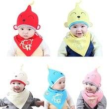 2 шт./компл. младенец, грудничок, ребенок мальчики девочки шапочка для сна шапки+ слюнявное полотенце треугольный головной платок Набор