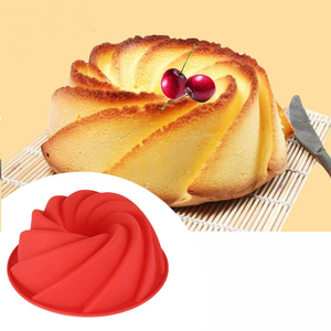 Image 2 - 3D מטבח אפיית עובש עוגת סיליקון צורת מערבולת גדולה כלי טופס עבור מאפיית עוגת עוגת עובש בישול תבנית אפייה פאן