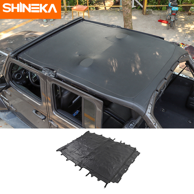 SHINEKA غطاء سيارة 4 باب جلد لينة سقف علوي كامل طول غطاء ظلة اكسسوارات ل جيب رانجلر JL 2018 2019 2020