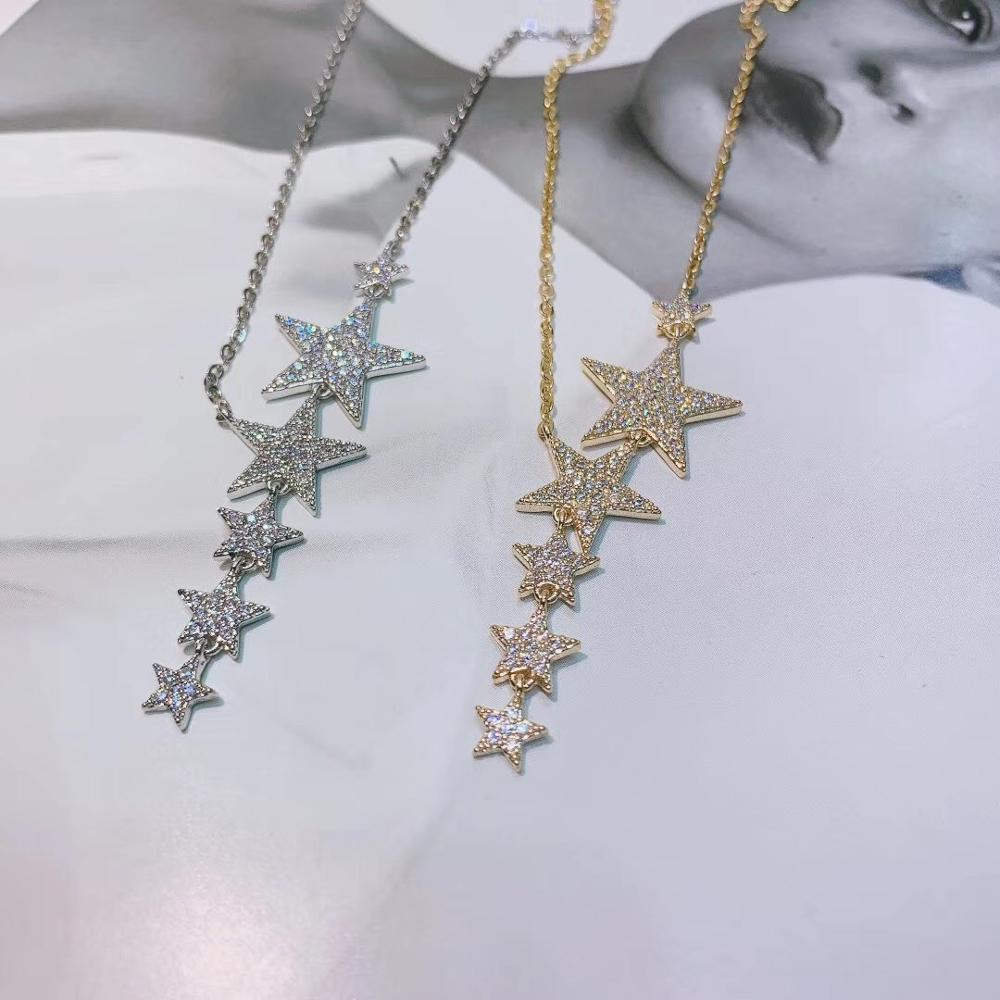 Luxury Gold Star Stackable Pendant Necklace Beautiful Full Cubic Zircon Fashion Charm Women Party Jewelry Gift D1447