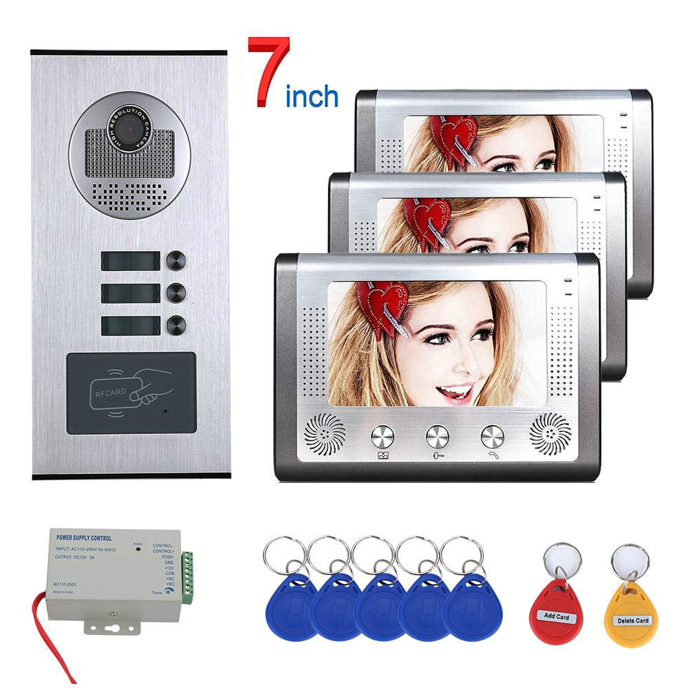 Wired Home 7 Inch TFT Color Video Intercom Door Phone System RFID Camera Metal 1000TVL With 2/3/4 Monitor For Multi Apartments