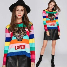 NiceMix 2019 Winter Sequins Tiger Sweaters Women Rainbow Color Striped Pullovers Slim Fit Fashion Streetwear Pull Jumper Femme C color block striped jumper