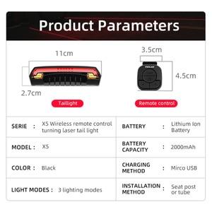 Image 2 - أضواء دراجة الفرامل الذكية Meilan X5 USB قابلة للشحن الدراجة ضوء الليزر LED بدوره إشارة الضوء الخلفي اللاسلكية التحكم عن بعد الخلفية La