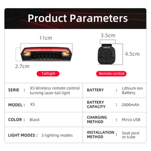 Image 2 - Meilan lampe de bicyclette de frein intelligent, Rechargeable par USB, Laser, clignotant, feu arrière, télécommande sans fil