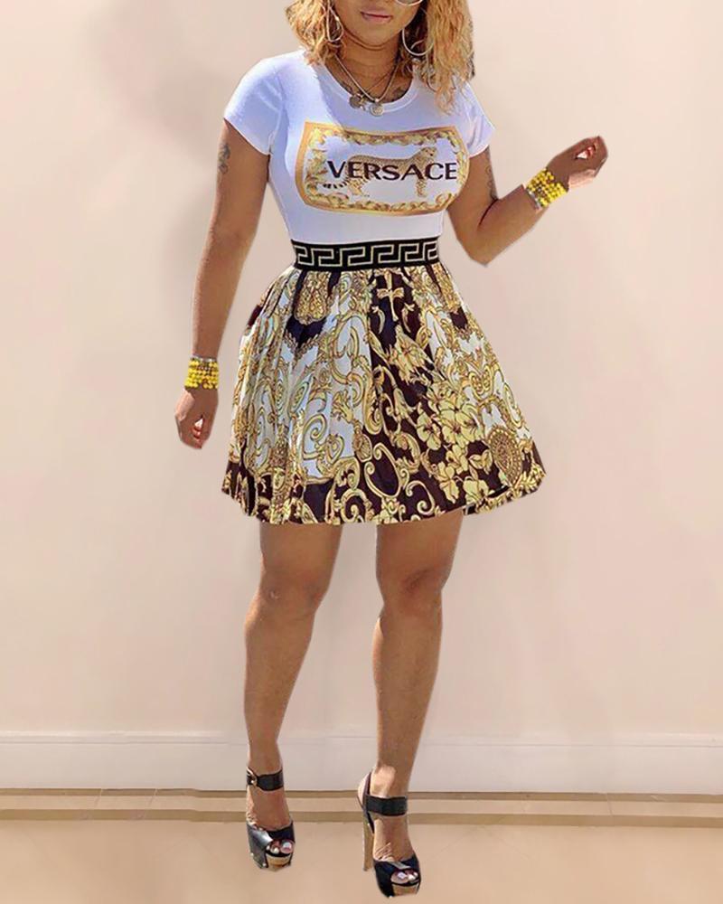 2020 New Fashion Women Summer Printed High Waist Splicing Dress Lady Casual O Neck Short Sleeve Mini Dress|Dresses| - AliExpress