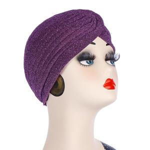 Image 4 - Glitter muzułmanki Turban czepek dla osób po chemioterapii indie chustka na głowę maska utrata włosów kapelusz hidżab plisowana, elastyczna okładka na głowę islamska moda
