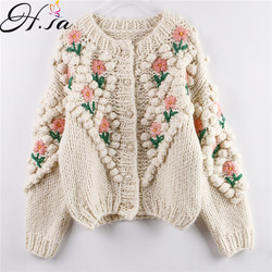 H.SA 2020 New Women Winter Handmade Sweater and Cardigans Floral Embroidery Hollow Out Chic Knit Jacket Pearl Beading Cardigans