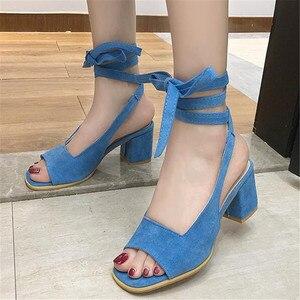 Сандалии женские на высоком массивном каблуке, босоножки с ремешком на щиколотке, на шнуровке, с открытым носком, модная повседневная обувь ...