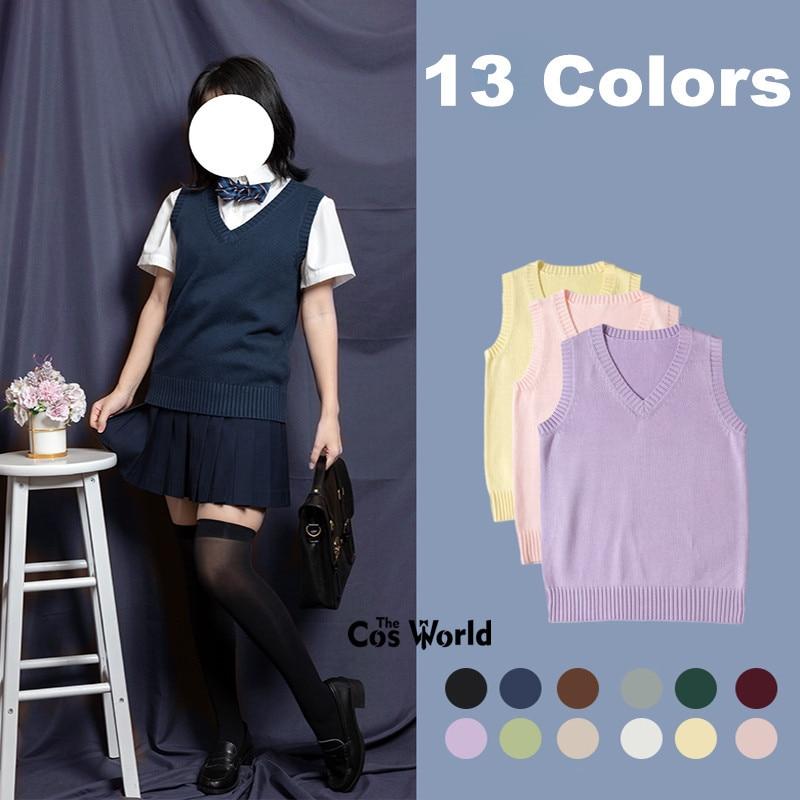 XS-XXL Spring Autumn Men's Women's Solid Color Sleeveless Knit Vests Pullovers V Neck Sweaters Coat For JK School Uniform