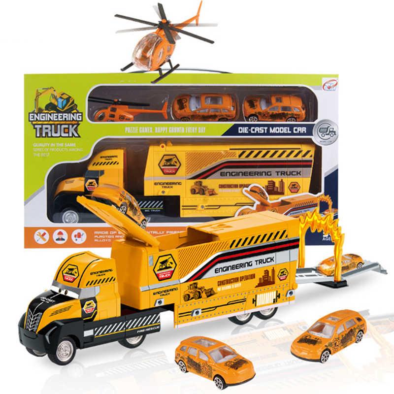 1:32 Scale วิศวกรตำรวจเมือง Carrier รถบรรทุกของเล่นพลาสติกที่มี 3PCS มินิล้ออัตโนมัติเด็กติดตามรถของเล่น