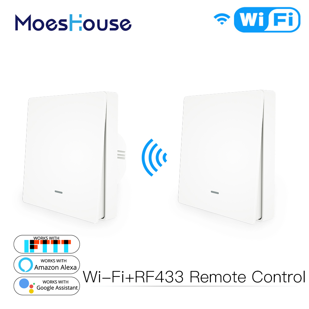 WiFi Smart Push Button Switch RF433 Wall Panel Transmitter Kit Smart Life Tuya App Remote Control Works With Alexa Google Home