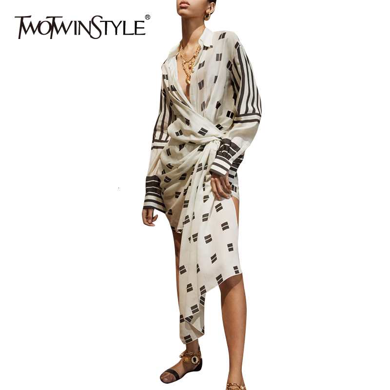 TWOTWINSTYLE Asymmetrical Print Dresses For Female Lapel Collar Long Sleeve High Waist Tunic Irregular Dress Womens Fashion Tide