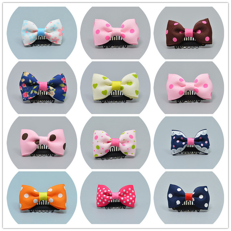 Small Dog Hair Bows Clip Cat Hair Clips Pet Hair Clips Butterfly Hair Barrette Cute Dog Kitten Puppy Bow Hairpins Hairband Pet