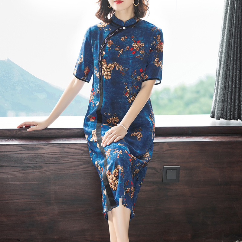2019 Summer New Style WOMEN'S Dress Big Brand Retro Large Size Real Silk Mulberry Silk Skirt Cheongsam Improved Version Dress Wo