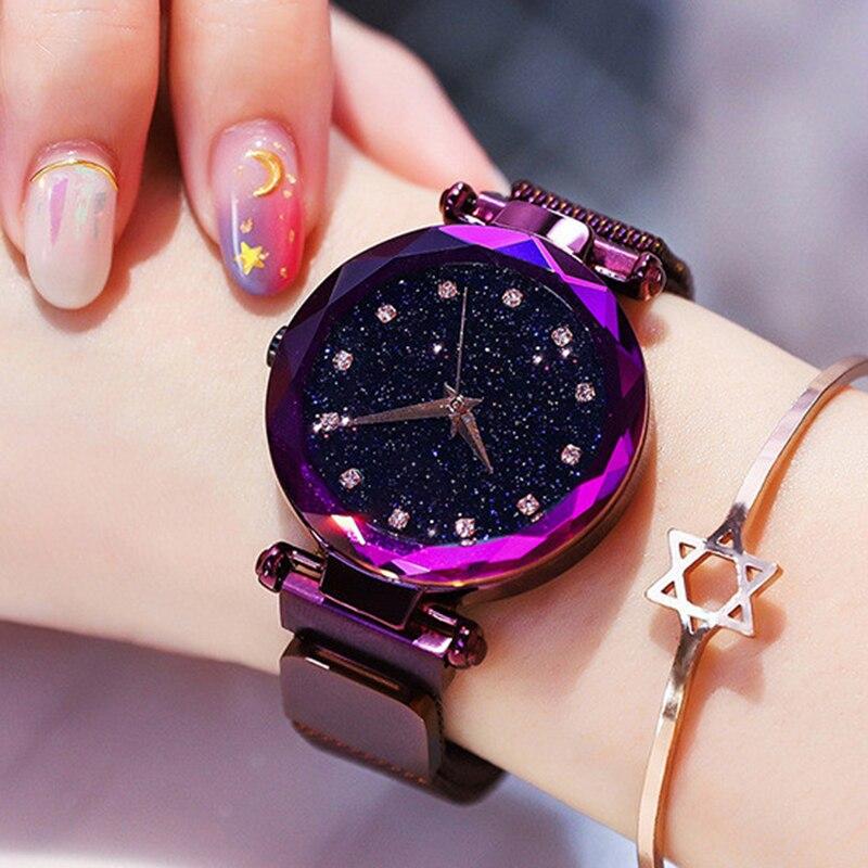 Luxo diamante rosa ouro relógios femininos céu estrelado malha magnética senhoras quartzo relógio de pulso para relogio feminino montre femme 2020
